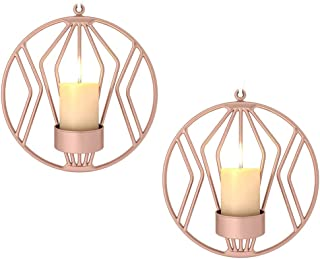 Sziqiqi Set of 2 Wall Pillar Candle Sconce, Metal Tealight Holders Wall Decorations for Living Room Bedroom, Ideal Gift for Wedding Bedroom Decor (Rose Gold × 2)