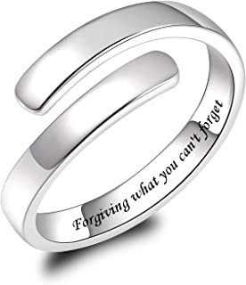 BEILIN 925 Sterling Silver Inspirational Ring Adjustable Rings Jewelry Gifts for Women Girls