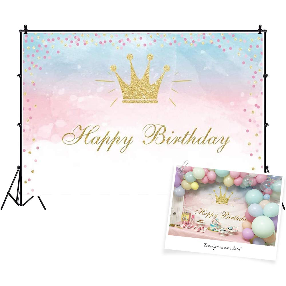 CSFOTO 7x5ft Happy Birthday Backdrop Crown Princess Birthday Party Background for Photography Cake Table Banner Bday Photo Background