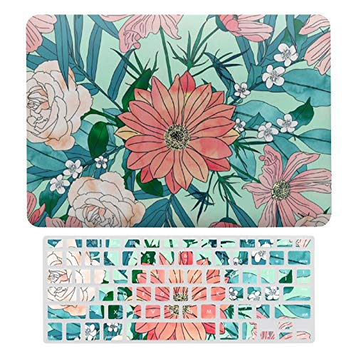 For MacBook Air 13 Case A1466、A1369, Plastic Hard Shell Case & Keyboard Cover Compatible with MacBook Air 13, Boho Chic Spring Garden Flowers Illustration Laptop Protective Shell Set