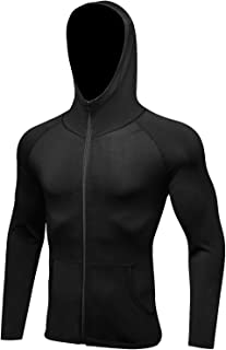 AIEOE Mens Sport Fitness & Exercise Dry Fit Compression Hoodie Jacket