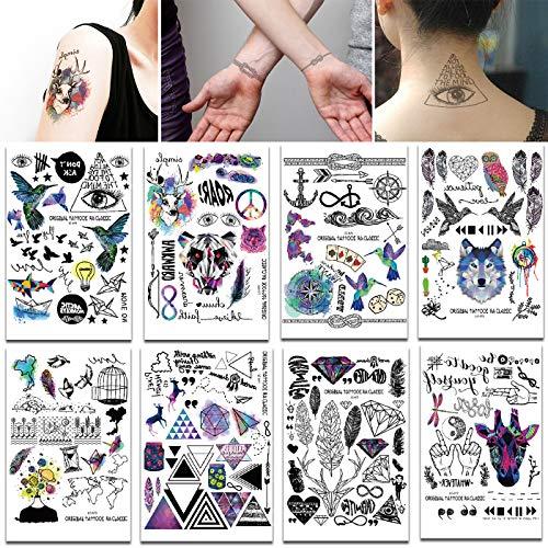 makstore 10 Blätter Klebe-Tattoos in Tier Totem Feder, Temporäre Tattoos Flash Tattoo Aufkleber Sticker für Frauen Herren Kinder 21x15cm