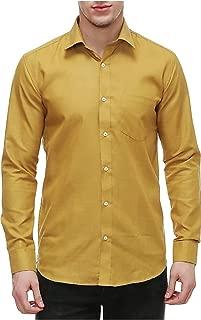 Nimegh® Men Dress Shirts 2019 Solid Slim Fit Cotton Long Sleeve Mens Casual Shirt Regular Coller Shirt Gold