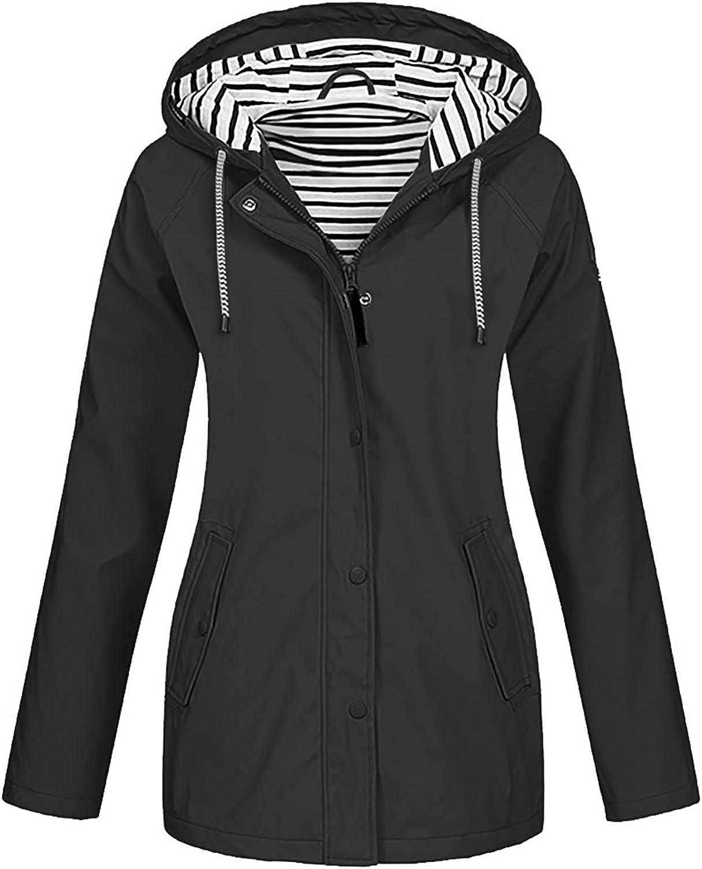 Plus Size Raincoat, ManxiVoo Women Waterproof Long Hooded Coats Lined Windbreaker Travel Outdoor Jacket