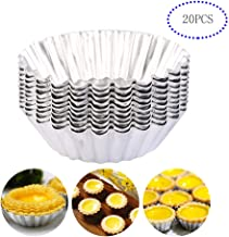 AnFun Egg Tart Molds 20 Pack Aluminum alloy mini cake Heat resistant nonstick Cookie mould Cookie cake pudding chocolate mold tin baking tool baking cup Mini pie muffins