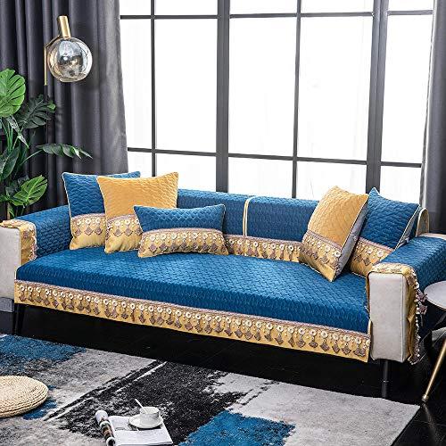 Suuki Couch Slip Cover,Sofa Covers nursery,Autumn winter thick couch protector cover,super soft plush sofa slip Covers,tassel non-slip sofa saver,sofa decoration cover-Dark_blue_110*160cm
