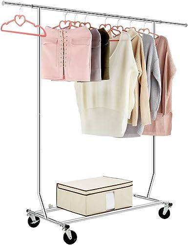 Todos los Cromado Shopfitting Warehouse Colgador de Ropa con Ruedas Ajustable