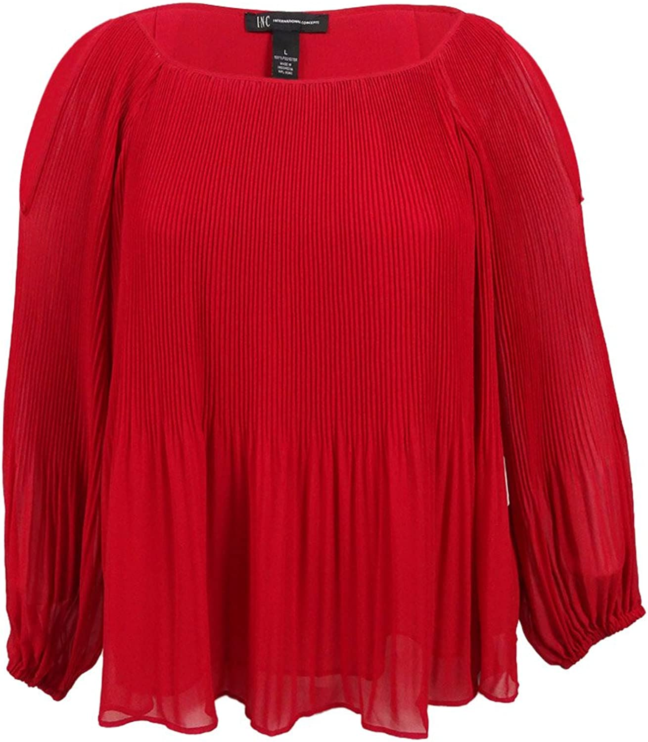 INC Womens Plus Pleated Long Sleeves Casual Top Red 0X