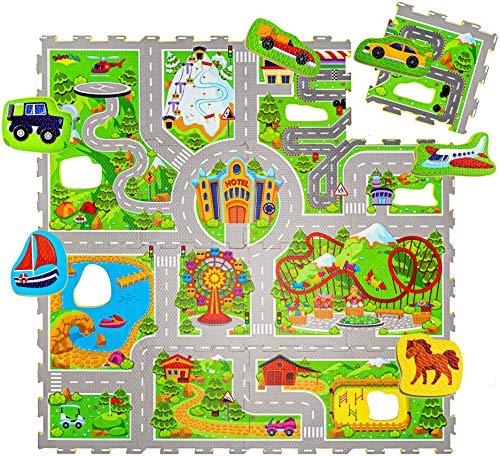 Hakuna Matte Puzzlematte für Babys Urlaub 1,2x1,2m – 16 Schaumstoffplatten mit Straßen – 20%...