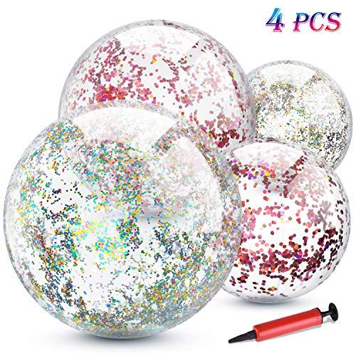 TUPARKA 4er Pack Glitter Beach Ball Aufblasbare Konfetti Beach Balls Bulk für Sommer Beach Favor Pool Party Spielzeug mit Inflator