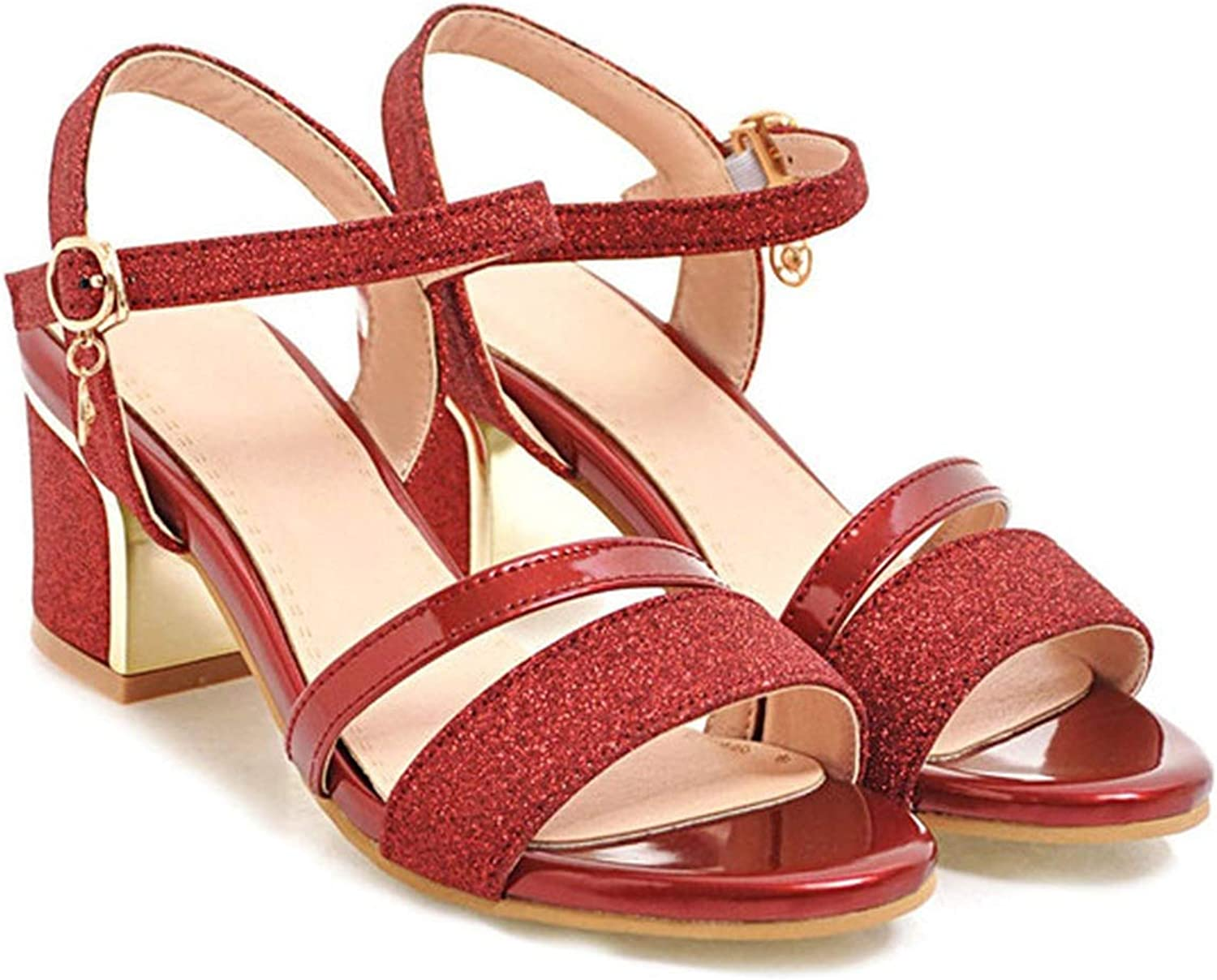 Women Sandals Block Heels Lady Party shoes Glitter High Heels Summer shoes,Red,4