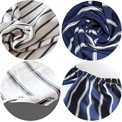BOBIBI Women's Off Shoulder Stripe Casual Blouse Shirt Tops