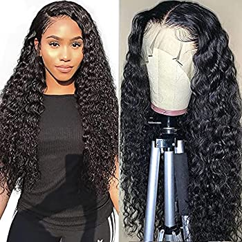 Water Wave Lace Front Wigs Human Hair Brazilian Virgin Human Hair 13X4 Lace Frontal Wig 150% Density Pre Plucked With Baby Hair Natural Black Kropan Wigs For Black Women 26 Inch