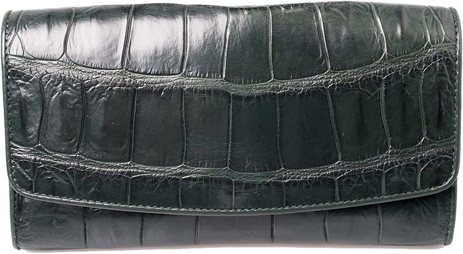 Genuine Crocodile Belly Leather Exotic Green Trifold Clutch Long Evening Wallet