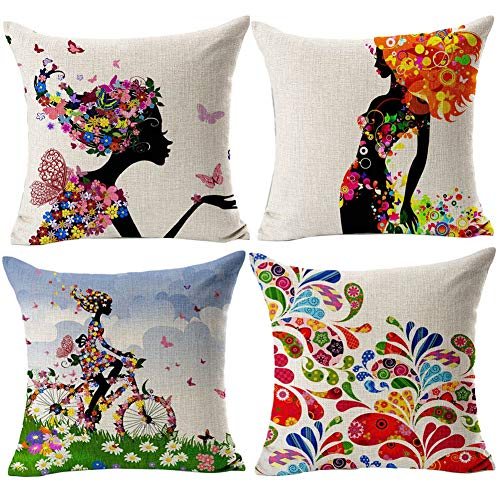 Gspirit 4 Pack Niña Flor Algodón Lino Throw Pillow Case Funda de Almohada para Cojín 45x45 cm