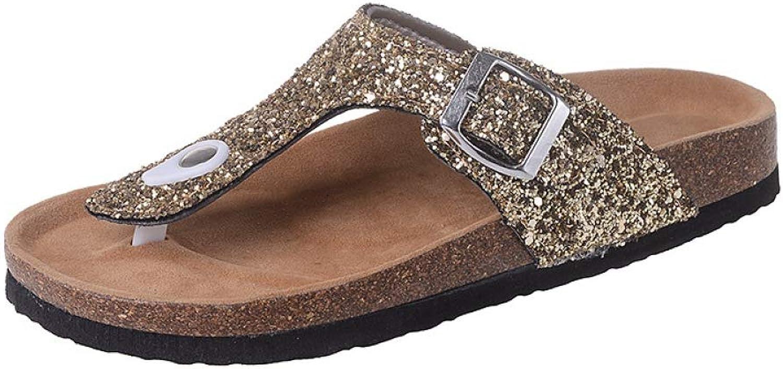 MEIZOKEN Women's Beach Cork Flat Sandals Adjustabe Buckle Straps Slide Sandal Slip on Casual Beach Slippers