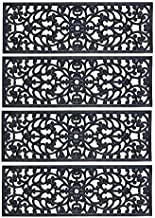 Rubber Stair Treads - Set of 4 - 30 Inch Wide Outdoor Black Scrollwork Rubber Non-Slip Stair Treads Mat