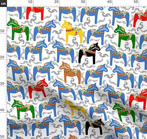 Pferd, Pony, Reiten, Dalapferd, Schwedisch, Folklore, Kinder Stoffe - Individuell Bedruckt von Spoonflower - Design von Ravynka Gedruckt auf Samt