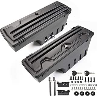 VRracing One Pair Set of Driver & Passenger Side Black Truck Bed Storage Boxes Case for Dodge Ram 1500 2500 3500 02-18 Wheel Well Tool Box