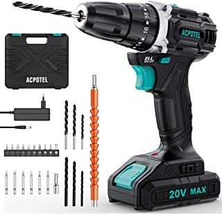 Brushless Drill, ACPOTEL 20V Max Cordless Drill Driver, Impact Drill Set with 38 Nm Torque, 3/8 inches Keyless Chuck, 20+3...