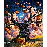 Avdgfr DIY「Halloween Tree」Peinture au Numéro Kits avec Peintures Acryliques pour Adultes Enfants Seniors Débutant,Peindre par Nombre Peinture à l'huile sans Cadre -40x50cm