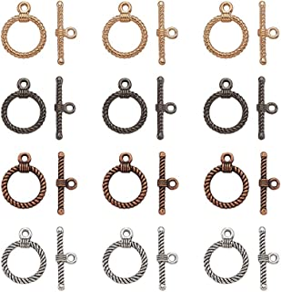 Pandahall 20set 4 Colors Tibetan Style Round IQ Toggle Clasps & Tbar Clasps for Necklace Bracelet Jewelry Making Antique Sliver/Brown/Golden/Red Copper Ring: 22x17.5x2mm