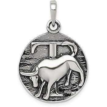 .925 Sterling Silver Antique Finish Zodiac Capricorn Horoscope Charm Pendant