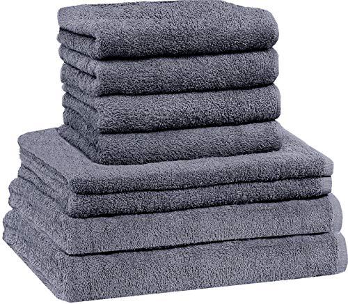NatureMark 8 TLG. FROTTIER Handtuch-Set mit verschiedenen Größen 4X Gästetücher, 2X Handtücher, 2X Duschtücher | Farbe: Anthrazit grau | 100% Baumwolle