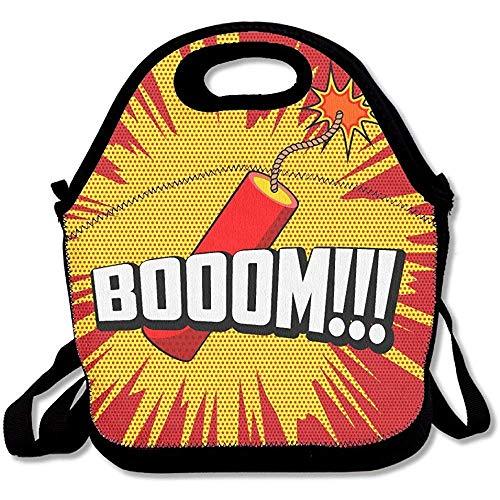 Boom Goes The Dynamite - Bolsas de neopreno para el almuerzo con aislamiento, bolsa térmica cálida con correa para el hombro para mujeres, adolescentes, niñas, niños y adultos