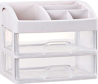 Adaskala Cosmetic Makeup Organizer Plastic Storage Box with Drawer Desktop Sundry Storage Case