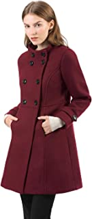 Women's Stand Collar Double Breasted Slant Pockets Trendy Outwear Winter Coat