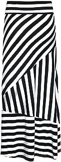 Women Stripes Maxi Long Skirt High Waist Straight Full Skirt Summer Skirts