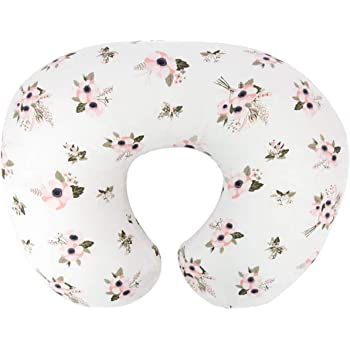 TILLYOU Large Zipper Nursing Pillow Cover, Luxury Egyptian Cotton Soft Feeding Pillow Slipcovers for Baby Girls Boys, Fits Standard Infant Support Pillows Positioners, Floral