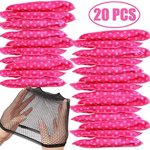 TIHOOD 20PCS Hair Rollers with Wig Cap -DIY Hair Styling Rollers Tools Soft Sleep Foam Pillow Hair Curler Rollers Sponge