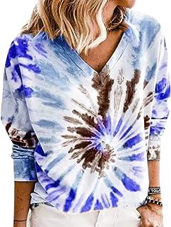 GAGA Women Casual Long Sleeve Tie Dye Print Round Neck Color Block Loose Pullover Sweatshirt Blouse