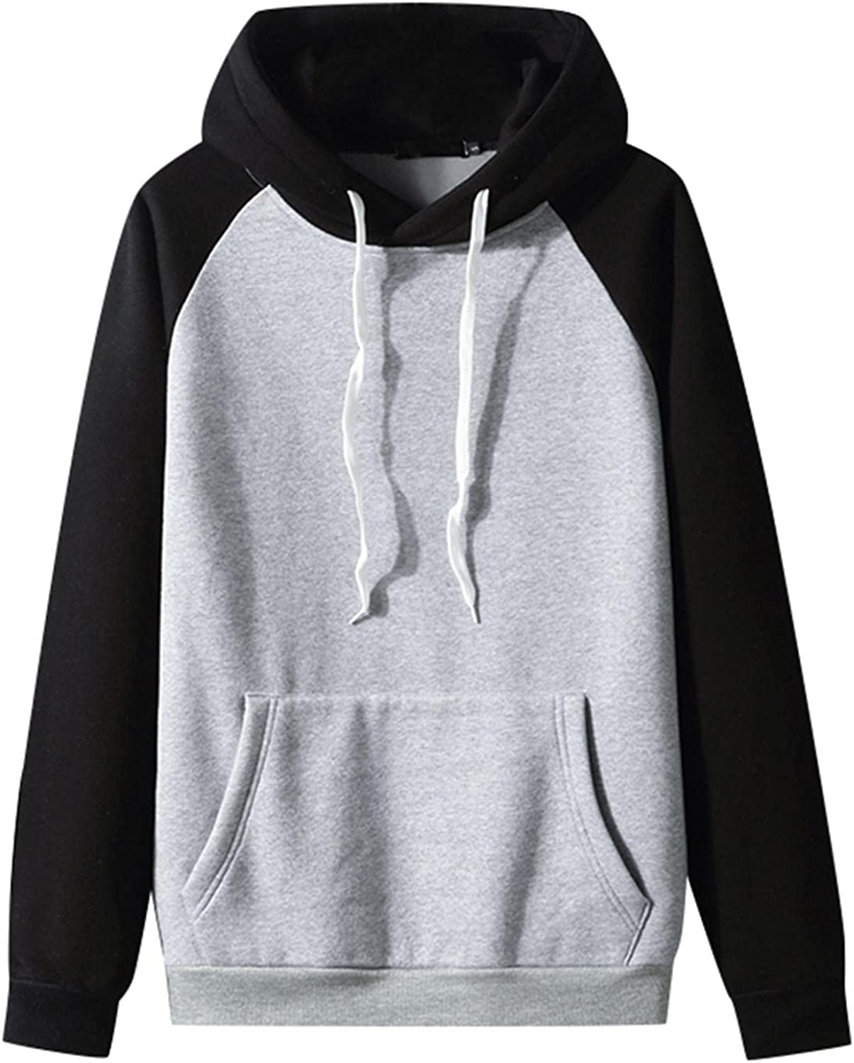 Hoodies for Men Cozy BlockColor Fashion Sport Sweatshirt Drawstring Long Sleeve Gym Fleece Pullover with Packet