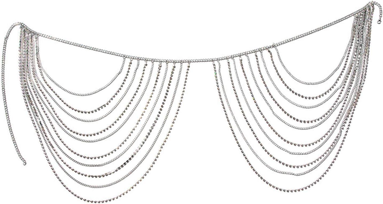 Now free shipping LQG Waist Quality inspection Chain Body Sexy Tassels Multi-Layer Rhinestone