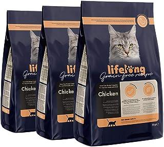 Marca Amazon Lifelong Alimento seco para gatos sénior con pllo fresco, receta sin cereales - 3kg *3