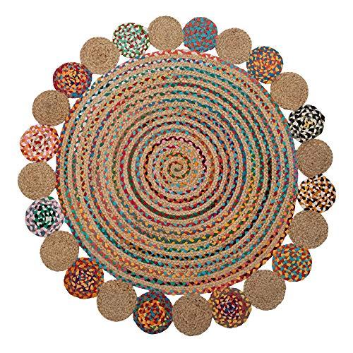 Alfombra exótica Trenzada con círculos Multicolor de Yute de 120x120 cm - LOLAhome