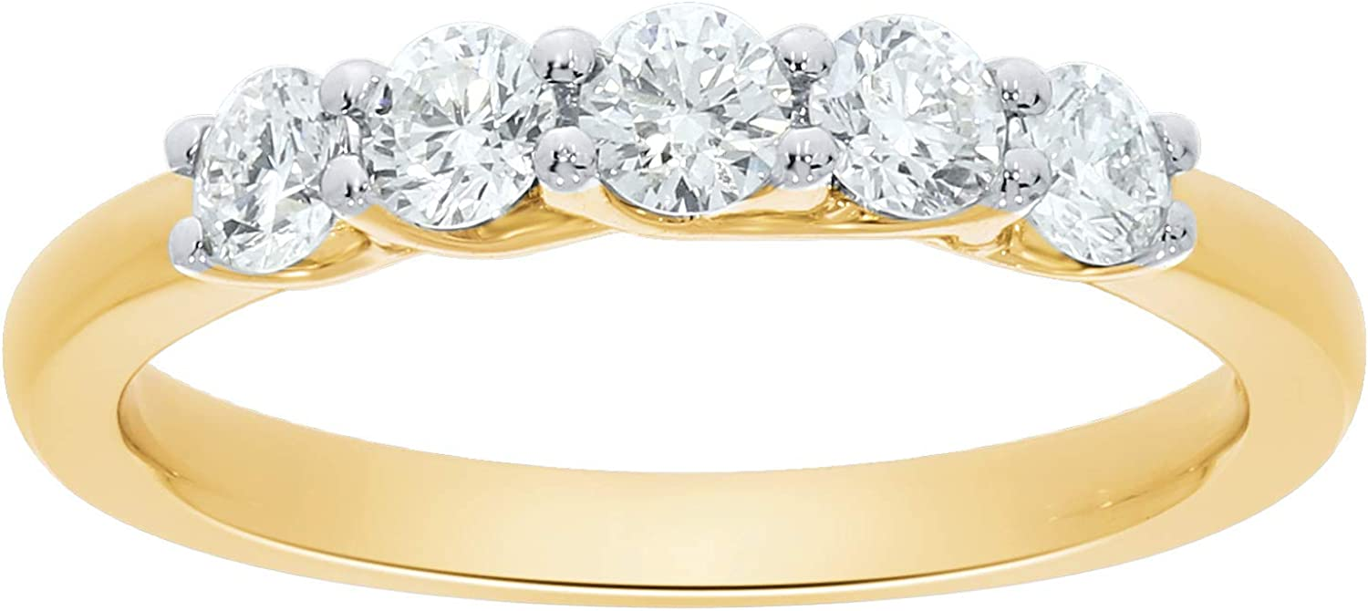 La Joya 1/4-3/4 CT TW Certified Lab Grown 5 Stone Diamond Wedding Band For Women - Solid 10k Yellow Gold - Dazzling GH Color VS-SI Stackable Bands And Anniversary Rings For Women - Choose Ring Size