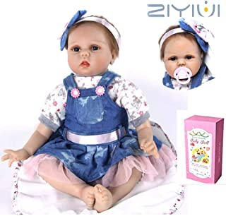 ZIYIUI 22 Pulgadas 55cm Muñeca Bebé Reborn Silicona Suave Vinilo Vida Real Bebé Recién Nacido Hecho a Mano Juguetes de Niño y Niña Los Regalo de cumpleaños