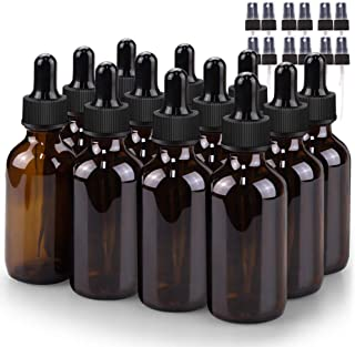 Glass Bottle Set, BonyTek 12 x 2oz Glass Spray Bottle, Amber Glass Eye Droppers Bottles for Watering Flowers Aromatherapy Cleaning and Window Disinfection Dilution Bottles