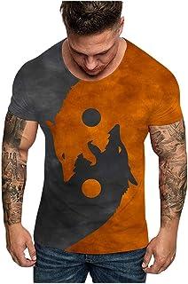 comprar comparacion LANSKIRT Camiseta de Manga Corta con Estampado de Cabeza de Lobo Doble para Hombre 2020 Moda, Camisas Casual, Camiseta Esp...
