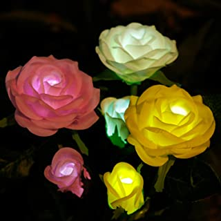 Anpro Solar Garden Rose Lights, 3 Waterproof Solar Lights with 6 Roses for Garden, Courtyard, Backyard Decoration (White, ...