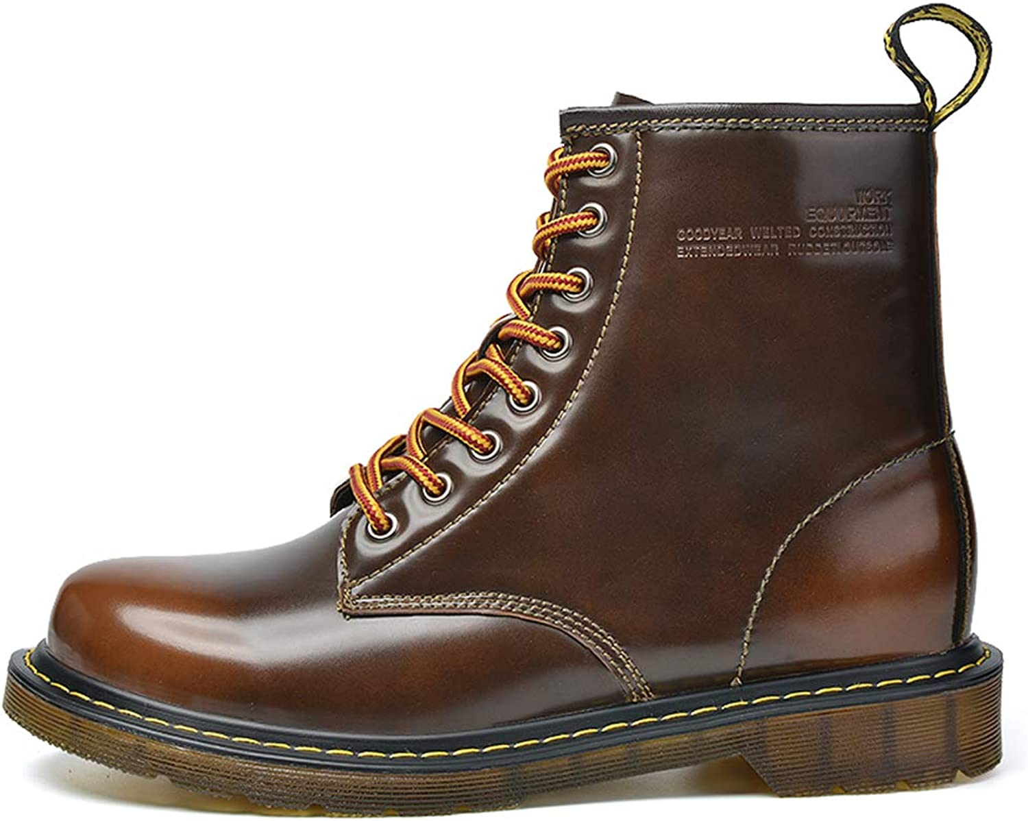 LEFT&RIGHT Mens Martin Boots Ankle Boots,Leather Autumn Winter Causal Outdoor Lace Up Motorcycle Boots Large Size
