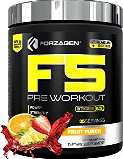 Forzagen F5 Pre Workout Powder - Energy Pre Workout Supplements Available in 4 Flavors | 35 Servings | Premium Energy Supplement with Caffeine Powder | Beta Alanine | L Citrulline (Fruit Punch)