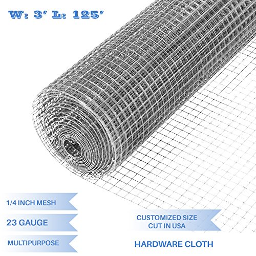 """E&K Sunrise 36"""" x 125' Hardware Cloth 1/4 inch 23 Gauge Wire Mesh Galvanized for Garden Plant Rabbit Chicken Run Chain Link Fencing Guard Cage - Customize Available"""