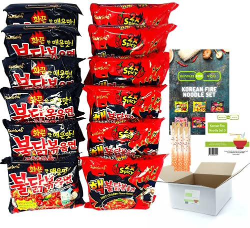 Korean Fire Noodle Set - Samyang Ramen Nudeln 6x140g (Rot) Hot Chicken Flavor Ramen DOPPEl 2x Spicy, 6x140g (Schwarz) Hot Chicken Flavor Ramen Halal.