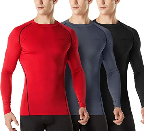 TSLA Men's (Pack of 1, 3) Cool Dry Fit Long Sleeve Compression Shirts, Athletic Workout Shirt, Active Sports Base Lay...