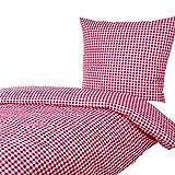 Hans-Textil-Shop Bettwäsche 135x200 80x80 cm Vichy Karo 1x1 cm Rot Baumwolle - Kariert mit...